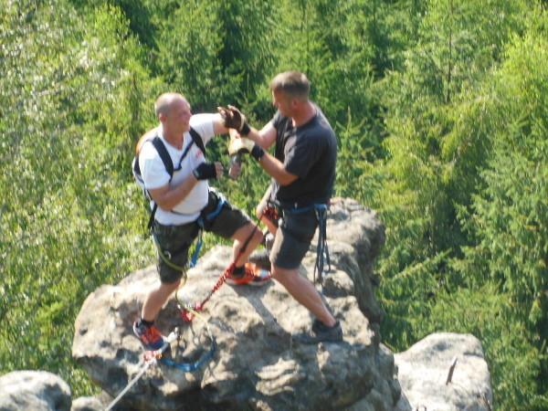 2013 Zittauer Gebirge, beim Klettern